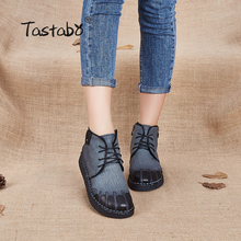 Tastabo Genuine Leather Women Boots 2017 New Spring Autumn Fashion Ankle Boots Comfortable Soft Outdoor Casual Flat Shoes