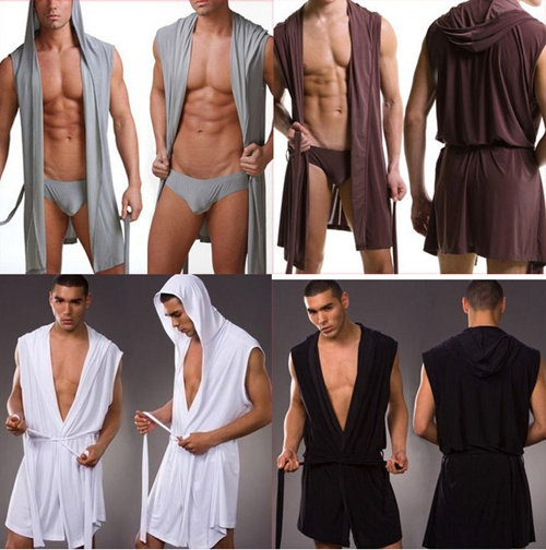 Buy Men Sexy Bathrobe Bath Robe / Male Sexy Underwear Sleepwear Pajamas / Men Nightgown Robes Without Briefs