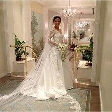 Beautiful V Neck A Line Bridal Gown Long Sleeves Satin Wedding Dress Custom Made bruidsjurken