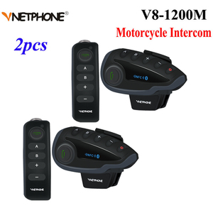 Image 1 - 2 sztuk 5 zawodników V8 domofon Bluetooth kask NFC kierownica motocykla pilot komunikator kask z zestawem słuchawkowym z radiem FM