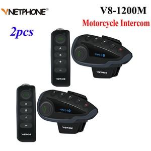 Image 1 - 2PCS 5Riders V8 Bluetooth Intercom Helmet NFC Motorcycle Handlebar Remote Control Communicator Helmet Headset with FM radio