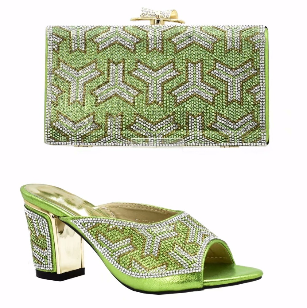 Newest Lemon green color with high quality 8cm heel female Italian shoes and bags matching set African design shoes with bag lemon design chain bag
