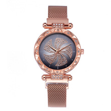 Women Magnet Watch Rose Gold Lucky Hot Wheels Luxury Diamond Female Clock Ladies Stainless Steel Quartz reloj mujer
