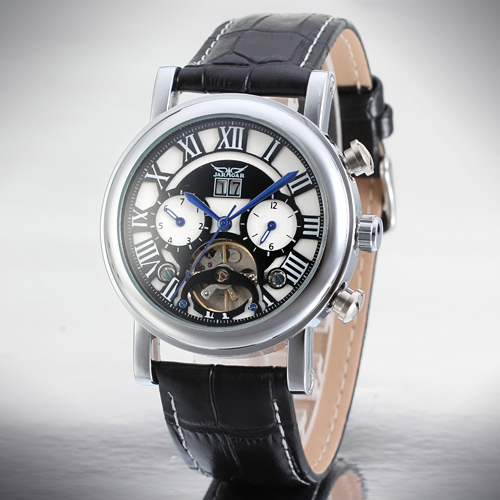 Men s Leisure Mechanical Wrist Watch Roman Numbers Tourbillon Genuine Leather Strap Date Display Blue Hands