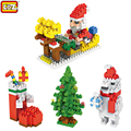 LOZ Presentes de Natal Meias Boneco de Neve de natal Papai Noel Veados Urso Blocos de Construção de Brinquedos para Crianças de Aniversário do Natal Presente de Natal Xmas