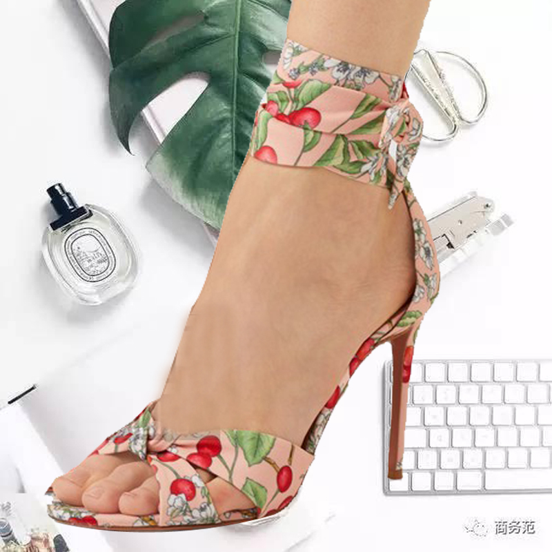 Floral Women Sandals High Thin Heel Cherry Print Stiletto Woman Lace Up Gladiator Chic Ankle Strap Zapatos De Mujer Peep ToeFloral Women Sandals High Thin Heel Cherry Print Stiletto Woman Lace Up Gladiator Chic Ankle Strap Zapatos De Mujer Peep Toe