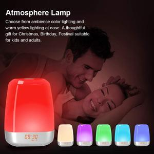 Image 5 - Hot Wake Up Light Alarm Clock  Press Control Multicolor Dimmable, Sunrise Simulation Digital Led Clock With Heavy Sleepers