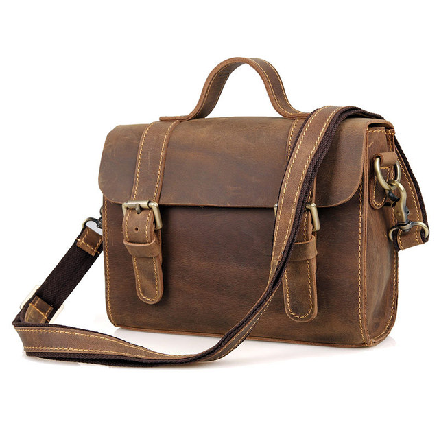 20cdc49535 Vintage Genuine Crazy Horse Leather Men s Messenger Bag Man Shoulder Sling Bag  Handbag small square bag