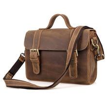 Vintage Genuine Crazy Horse Leather Men's Messenger Bag Man Shoulder Sling Bag Handbag small square bag