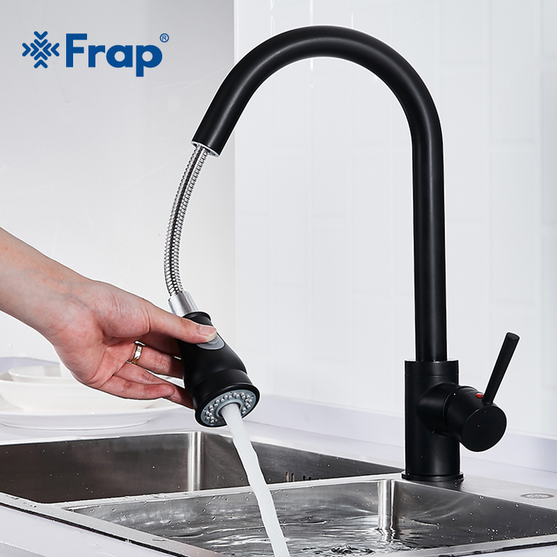 Frap Newly Arrived Pull Out Kitchen Faucet Black Sink Mixer Tap Sprayer Two Ways Spout Kitchen Hot and Cold Water Faucets Y40080
