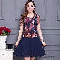 2017 zomer lente mode merk vestidos volie plus size casual elegante bloemenprint chiffon dress vrouwen groothandel 2 kleuren