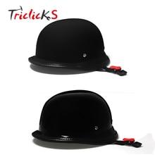 Triclicks Glossy/Dark Black Motorcycle WWII German Style Dot Helmet Retro Vintage Half Face Helmets Street Protector