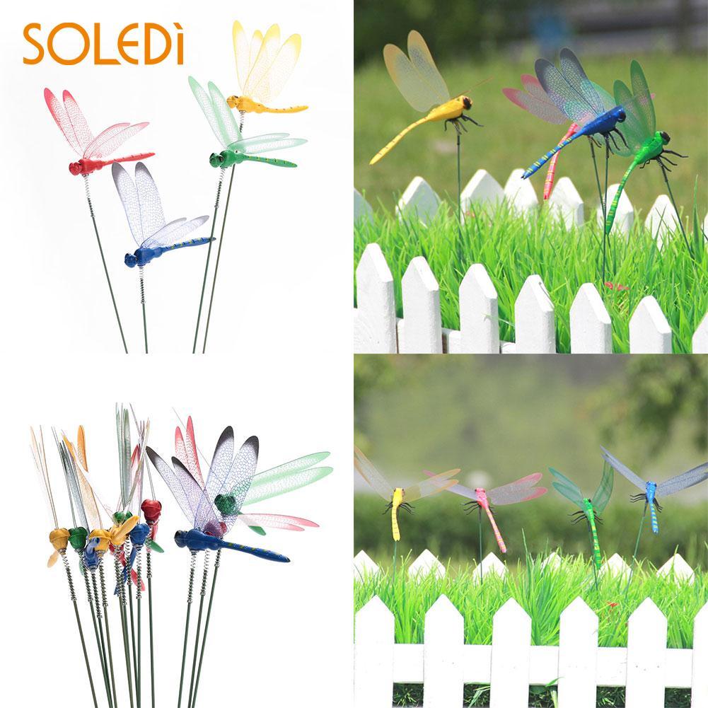 3D Dragonfly Double Lifelike Garden Decor Plastic Creative Garden ...