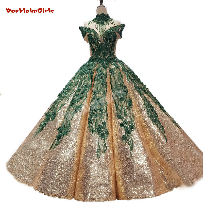 Emerald Green Lace Necklace High Neck And Gold Sequins Party Girl Evening Prom Dress Puffy Ball Gown Waves Arch Skirt Prom Gown