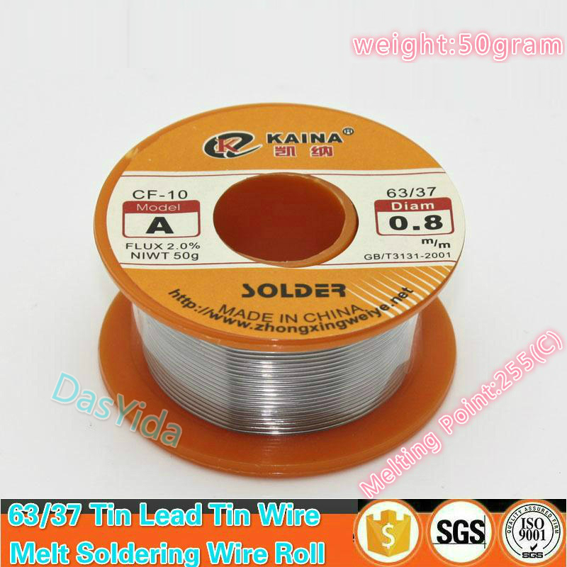 50 Gram 63/37 FLUX 2.0% 45FT Tin Lead Tin Wire Melt Rosin Core Soldering Wire Roll,Free Shipping