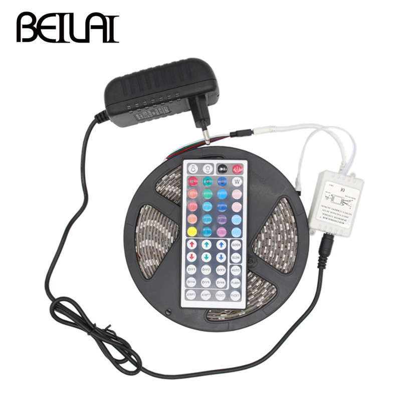 DC 12V RGB LED Strip Waterproof 5050 5M 300LEDs Fita LED Light Strips Flexible Neon Tape Stripe With 3A Power and 44Key Remote sale multicolor glow neon wireless remote motorcycle rgb 5050 led smd flashing light 12 strips waterproof 15 color