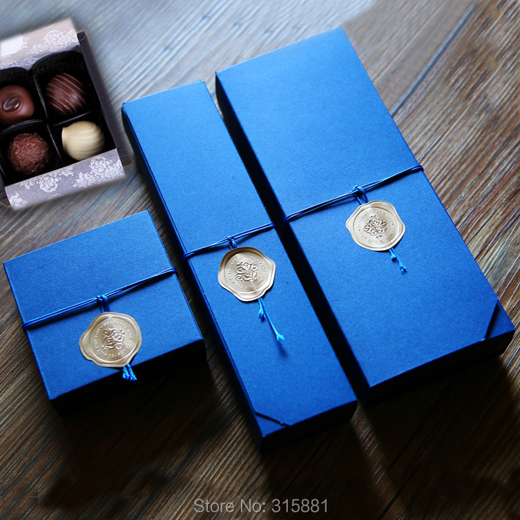 Blue Chocolate Boxes Chocolate Paper Box Valentine's Day Christmas Birthday Party Supplies Gift Packaging 10set/lot