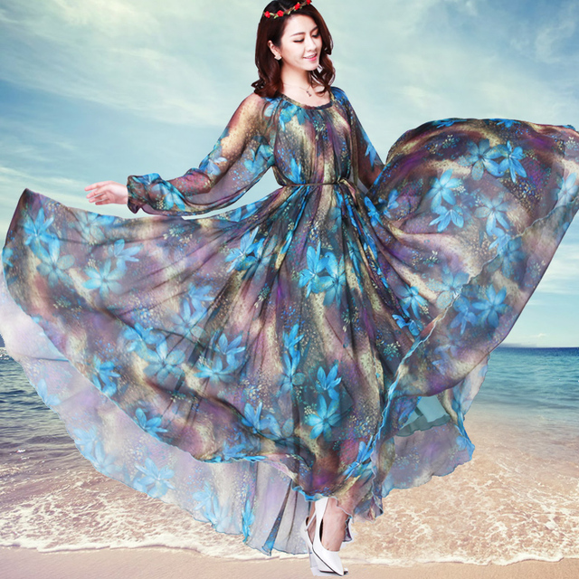 Long sleeve O neck bohemia chiffon plus size full dress Holiday ...