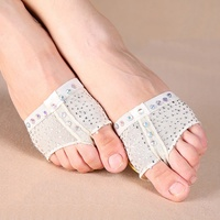 Retail 1 Pair Heel Pad Support Professional Sequins Ballet Dance Socks Protector Belly Dancing Foot Thong