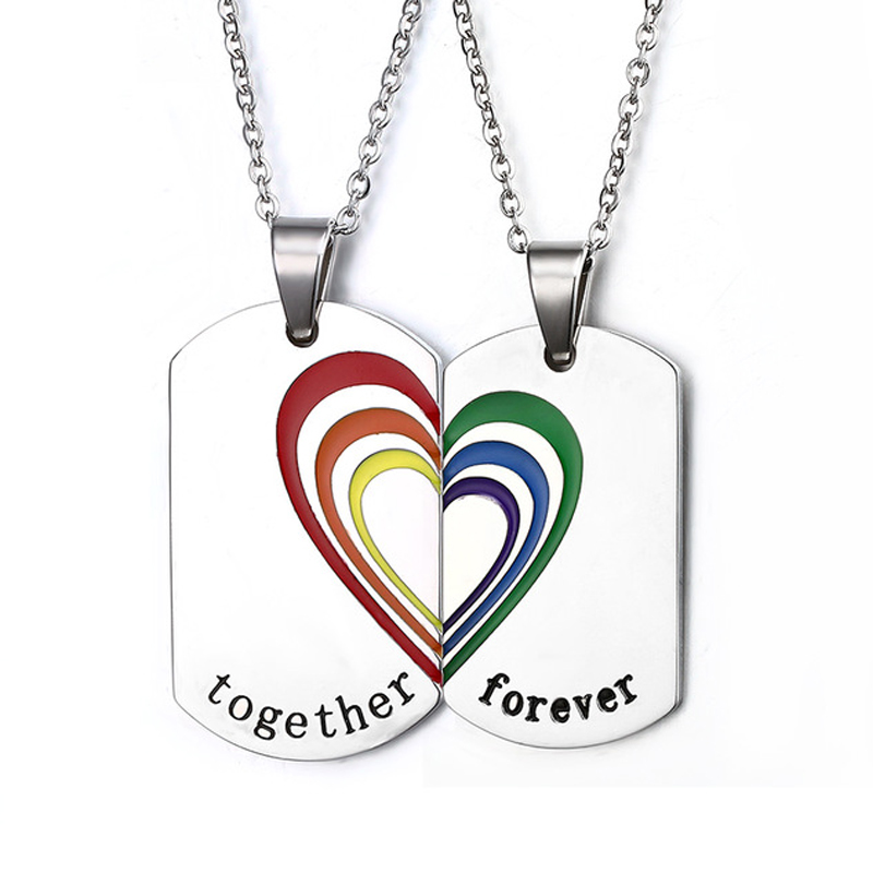 One pair Together Forever Rainbow Necklaces&Pendants Lesbian Gay Women Stainless Steel Couple Pendent Colorful LGBT Jewelry