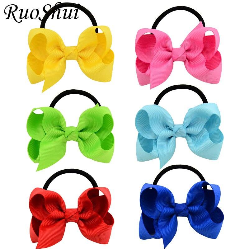 3 Inch Ribbon Hair Ribbon Bows With Elastic Band Hairband For