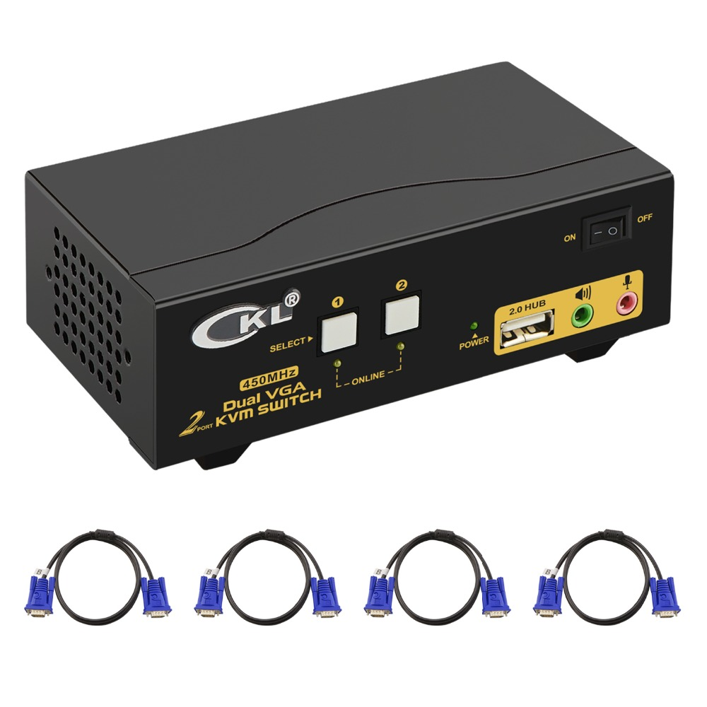 VGA KVM Switch 2 Port Dual Monitor Extended Display, CKL USB KVM Switch VGA With Audio + 2 VGA Output 20481536@450Hz, PC Monitor