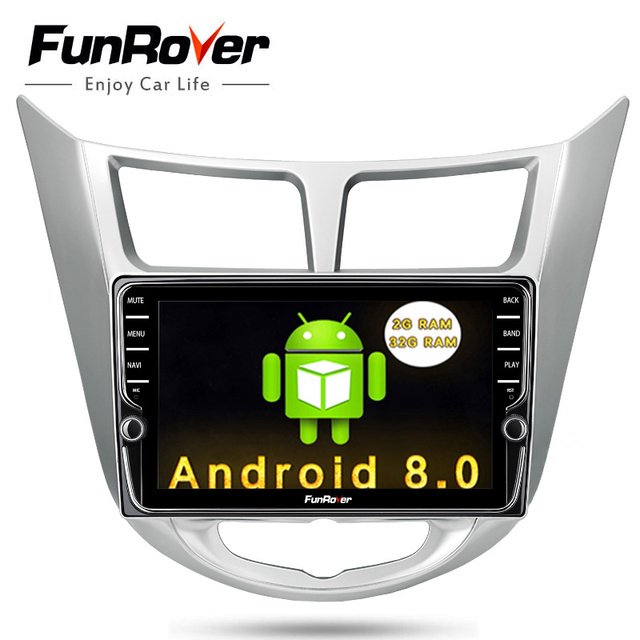 Funrover IPS Car DVD Player multimedia GPS Navigation For Hyundai Solaris Verna Accent 2011-2015 Radio tape recorder video audio