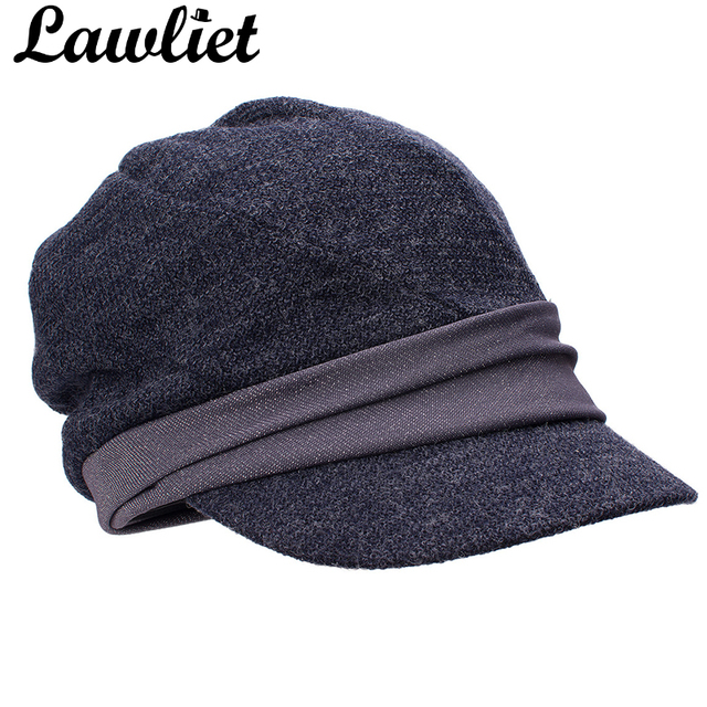 1c79ba0739d91 Lawliet Women Cap Winter Beret Hat Warm Newsboy Visor Cap Shimmer Thread  Baseball Cap Baker Boy Man Cabbie Cap Gray Blue 5 color