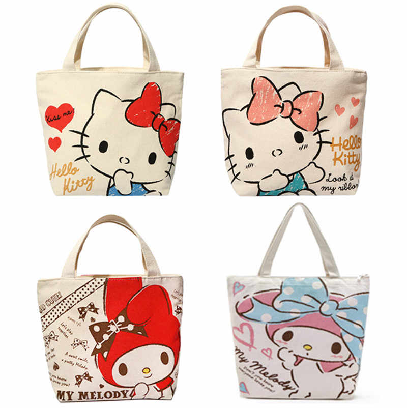 720bb1e312f6 Cute Cartoon Hello Kitty My Melody Canvas Tote Bag Handbag Lunch Bag for  Girls Kids School