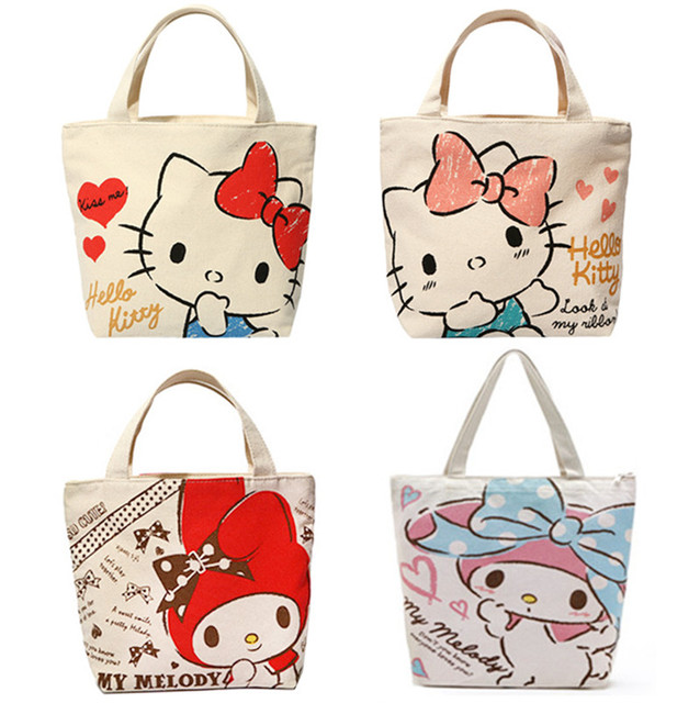 2e606baeb Cute Cartoon Hello Kitty My Melody Canvas Tote Bag Handbag Lunch Bag for  Girls Kids School Women Small Picnic Food Bag Zipper