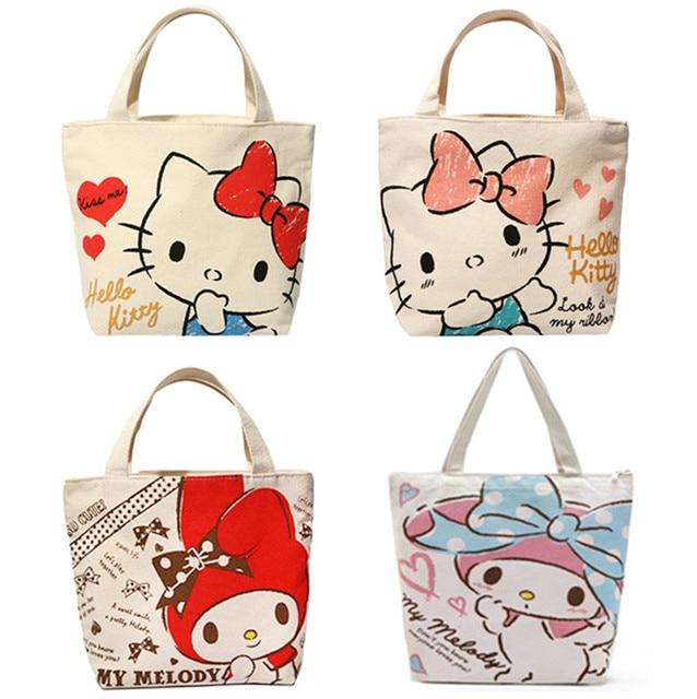 42477a776d75 Cute Cartoon Hello Kitty My Melody Canvas Tote Bag Handbag Lunch Bag for Girls  Kids School Women Small Picnic Food Bag Zipper