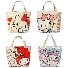 138b051bf7 Cute Cartoon Hello Kitty My Melody Canvas Tote Bag Handbag Lunch Bag for  Girls Kids School