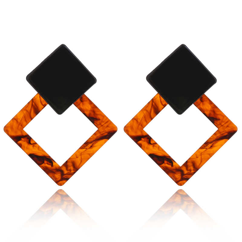 New Fashion Vintage Acrylic Big Square Geometric Stud Earrings For Women Tortoiseshell Pendientes Jewelry Accessories AE188