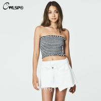 CWLSP Summer Smocked Tube Top Plaid Tank Top Women Shirred Cropped Top QL3126