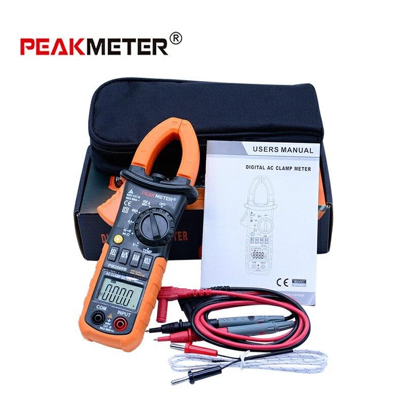 PEAKMETER 3 3/4 Pince Ampèremétrique numérique 4000 Compte w/Rétro-Éclairage AC DC tension de capacité de résistance + Diode testeur PM2008B