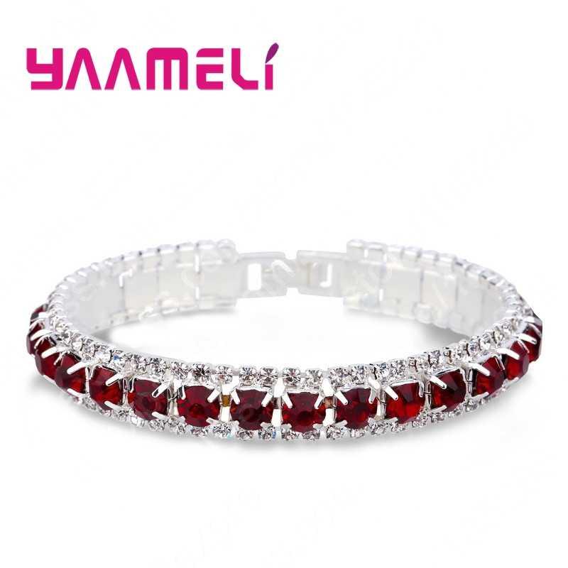 Лучшие продажи 925 стерлингового серебра браслеты Полный AAA Циркон австрийский кристалл Femme женские звенья цепи украшения-браслеты 14 цветов