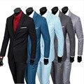 (Jacket + Pants + Vest) 2016 Hombres de Marca Trajes de negocios Blazers Chaqueta Vestido Formal Conjunto Traje de Los Hombres Masculinos boda Del Novio Esmoquin de tres piezas