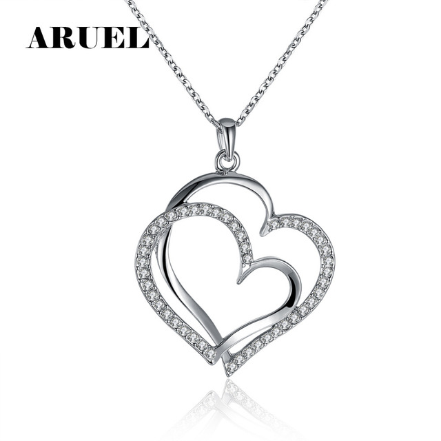 Beautiful ARUEL Romantic Big Two Heart Shape Crystal Lover Chain Necklaces  EY26