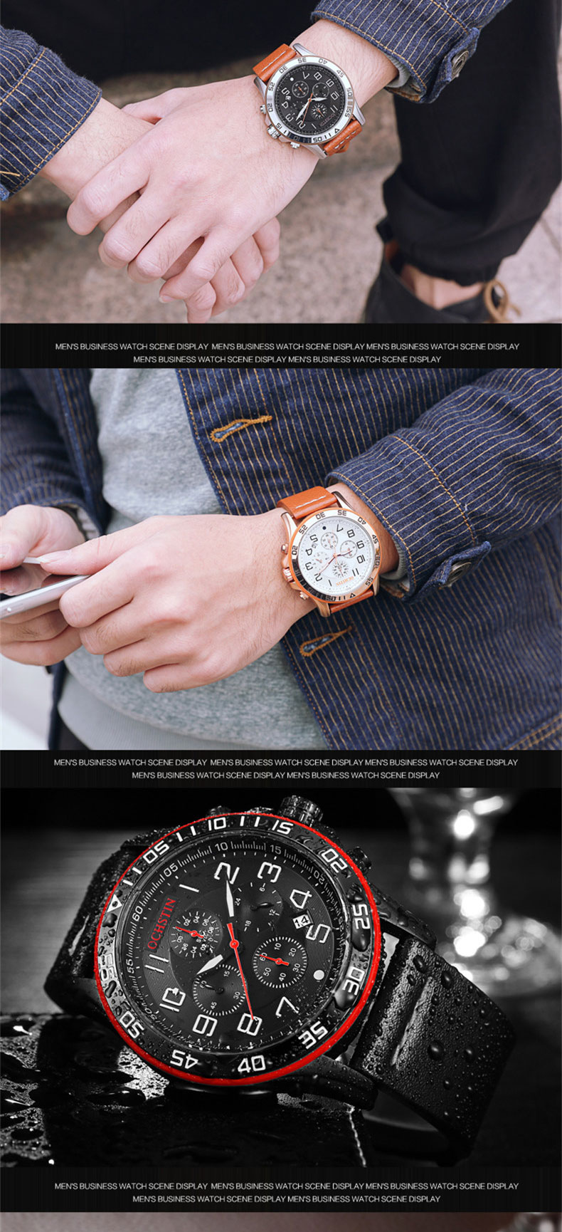 17 Men Watches Luxury Top Brand OCHSTIN Sports Chronograph Fashion Male Dress Leather Belt Clock Waterproof Quartz Wrist Watch 9
