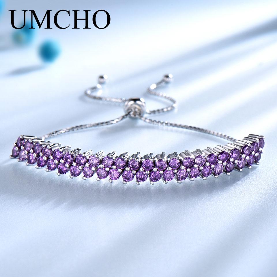 UMCHO Genuine 925 Sterling Silver Bracelets Bangles For Women Nano Amethyst Gemstone Elegant Party Gift Wedding