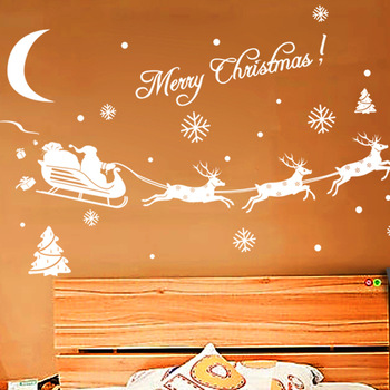 1Pcs Christmas Stickers for Window Xmas Deer Elk Stickers Decoration Christmas Glass Window Stickers for Home Decor New C1025