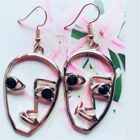Модные геометрические серьги в виде лица с черепом для женщин