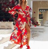 Nerlerolian 2018 Women Red Floral Beach Dress Boho Deep V Neck Casual Bodycon Female Slim Summer