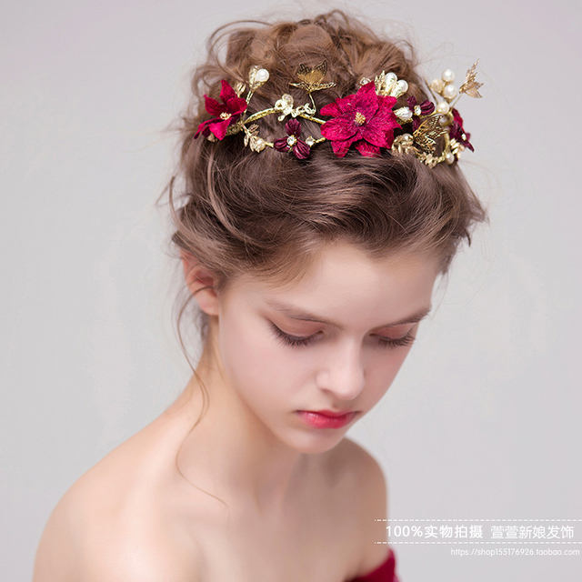 hot sale traditional chinese wedding hair accessories vintage red crystal rhinestone bridal hair combs bride tiaras