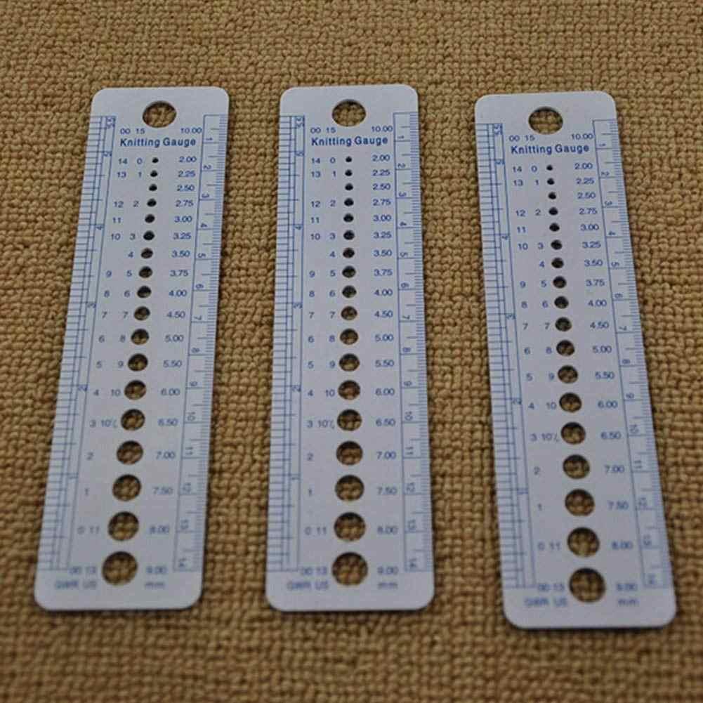 10 X Merajut Meteran Penggaris Plastik Merajut Ukuran Jarum Meteran Penggaris Inci/Cm Tenun Alat Merajut Jarum Alat (16X4 C