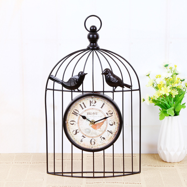 TUDA Free Shipping Retro Birdcage Wall Clock Decorative Watch Living Room Iron Birdcage Wall Clock Home Crafts Home Accessories