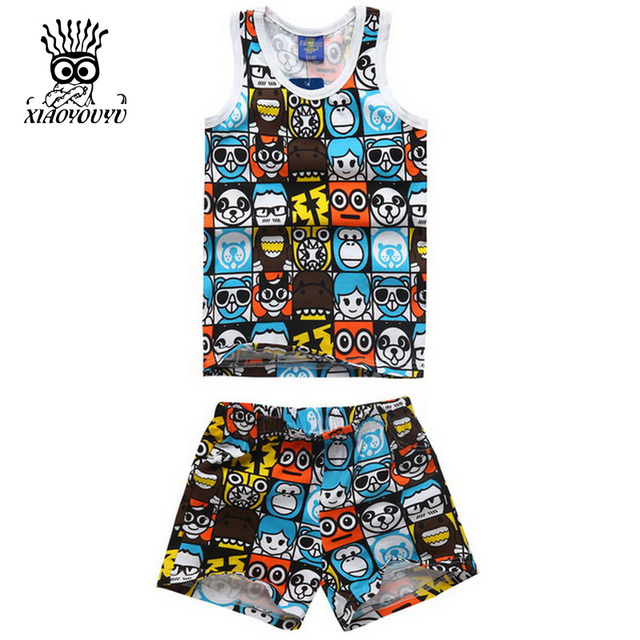 134a1a03976 XIAOYOUYU Size 90-130 Boy Summer Casual Sport Sets Vest + Shorts Cartoon  Printed Kids Cotton Clothing Suits Sleeveless Boys Suit