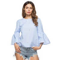 ZJ PNARL New Fashion Autumn Shirt Women Tops Casual Rivet O Neck Flare Sleeve Blouse Female
