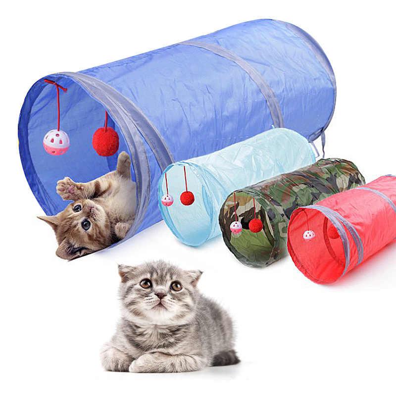 Engraçado pet cat túnel 7 cor 2 buracos jogar tubos bolas dobrável crinkle gatinho brinquedos filhote de cachorro furões coelho jogar cão túnel tubos