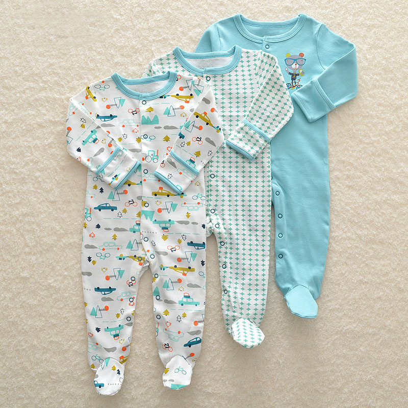 Baby Girl Romper 3pcs Newborn Sleepsuit Flower Baby Rompers 2019 Infant Baby Clothes Long Sleeve Newborn Jumpsuits Baby Pajamas